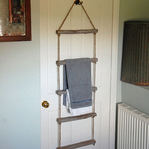 Natural bleached wooden hanging towel rope ladder