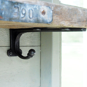 School house cast iron shelf bracket with coat hook