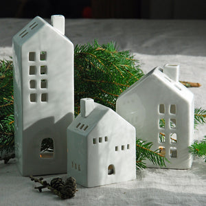 Nordic ceramic tea light houses