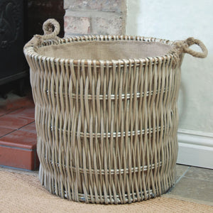Large Cotswold antique washed willow log basket