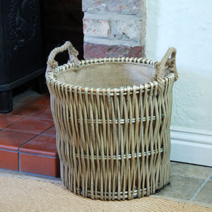 Small Cotswold antique washed willow log kindling basket