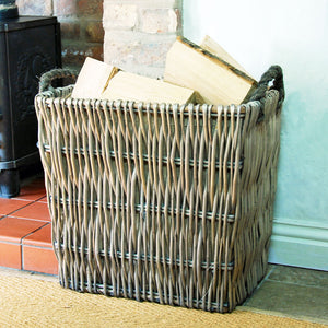 Large vertical weave willow log basket