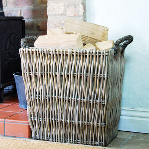 Small vertical weave willow log basket