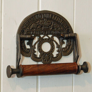 Vintage style Waterloo cast metal wall mounted toilet loo roll holder.