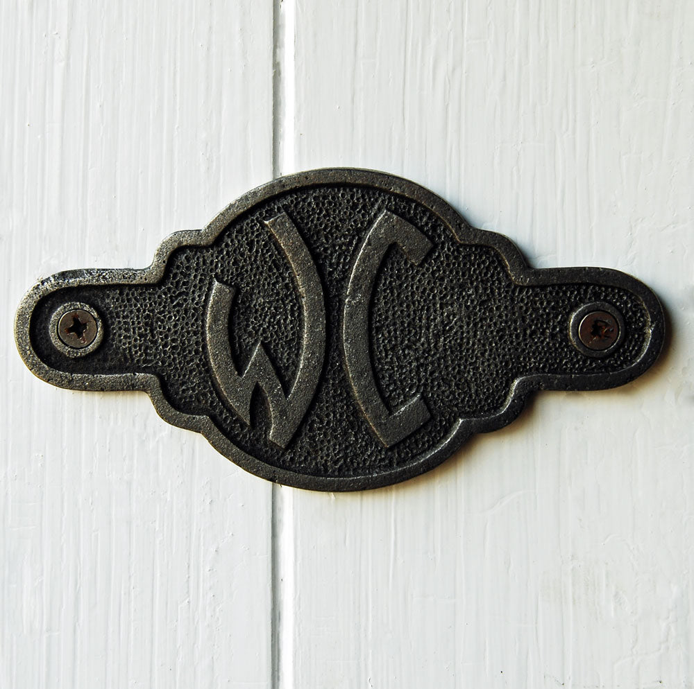 French cast metal WC toilet door sign