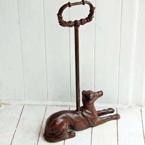 Cast metal whippet long handle doorstop