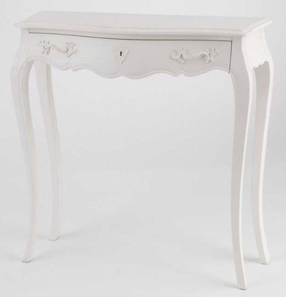 French Murano white slim console table