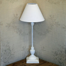 Maison white wooden table lamp with linen shade