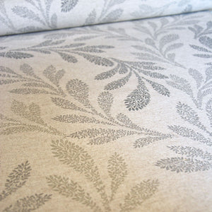 French vintage grey willow print oilcloth linen