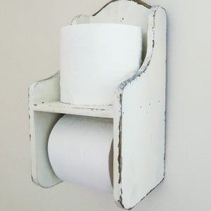 Colchester cream vintage wooden wall mounted toilet roll holder