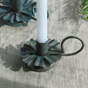 Danish zinc metal candle holder with handle