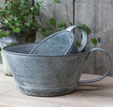 Small vintage grey zinc handled planter