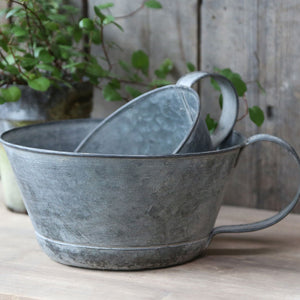 Large vintage grey zinc handled planter