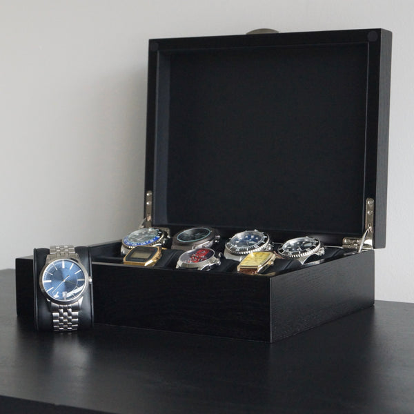 Men's 8 slot watch box Oak veneer exterior Soft faux leather interior Chrome silver hinges Handmade UK transform