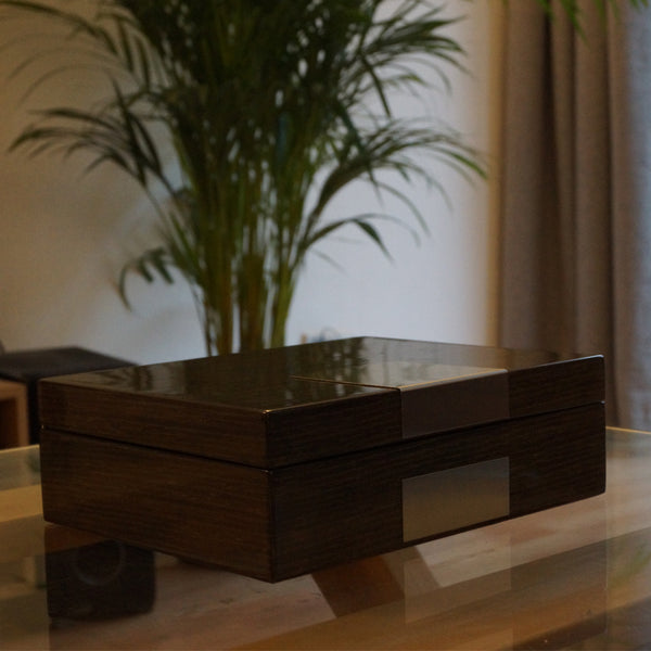 4 slot watch box Integrated jewellery box Gloss ginko oak veneer exterior Velvet interior Chrome silver hinges Handmade home table modern plant luxury