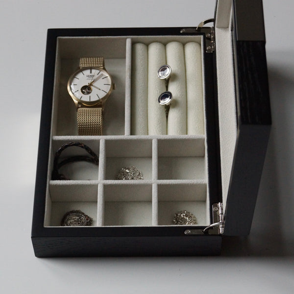 Mens watch box cufflink box jewellery box sliver hinges handmade UK