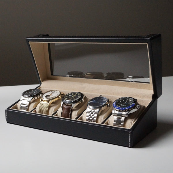 Men's 5 slot watch box faux leather suede interior Handmade UK