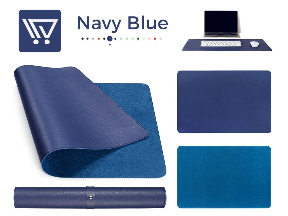 Eco-Leather Desk Mat (Large) Mousepads Wundercart Navy Blue 90X45cm