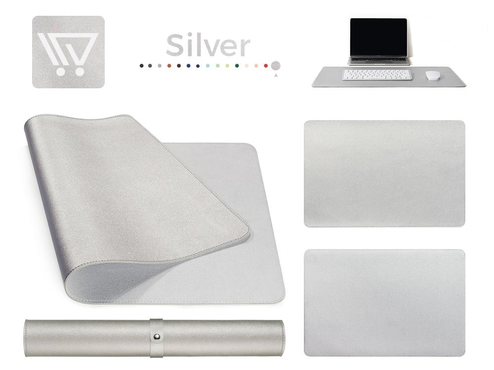 Eco-Leather Desk Mat (Large) Mousepads Wundercart Silver 90X45cm
