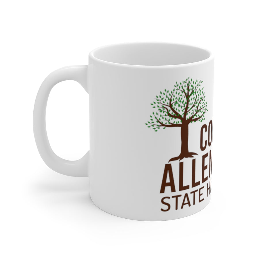 White Ceramic Mug w/Trees