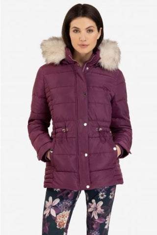 Puffer Coat With Detachable Hood, Dark Orchid