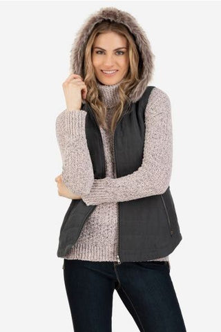 Fur Hood Vest in Steel Grey