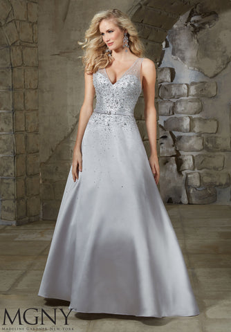 Larissa Satin Ballgown in Platinum