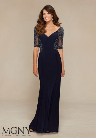 Plunging Portrait Gown in Navy