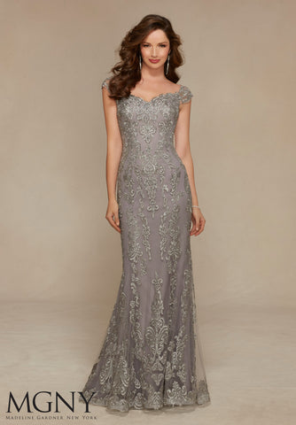 Ornamental Evening Gown, Silver