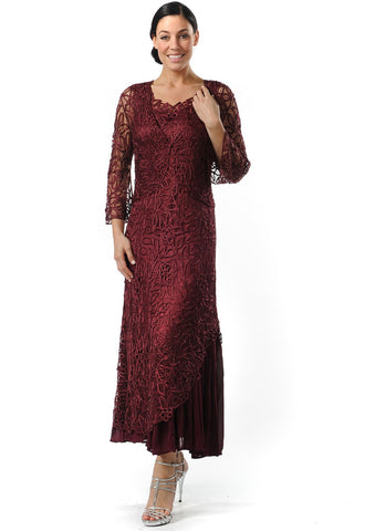 Nikki 2 Piecec Dress, Burgandy