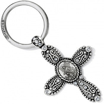 Devotion Angel Cross Key fob, Silver - Judee's