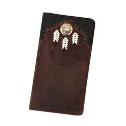 Chieftain Feather Checkbook, Brown - Judee's