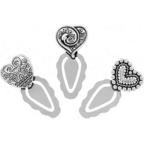 Heart Page Markers Silver