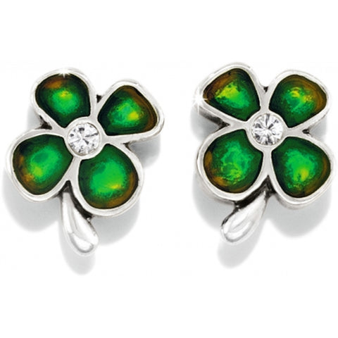 Four Leaf Clover Post Earrings Silver Green