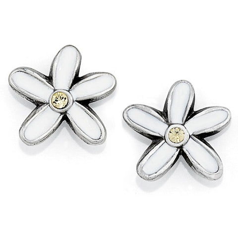 Daisy Mini Earrings Silver White