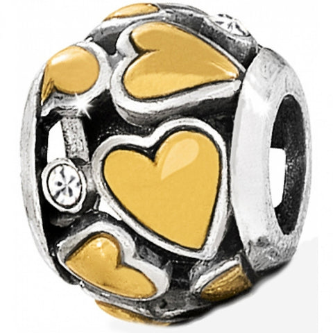 Hearts & Crystals Charm Silver-Gold