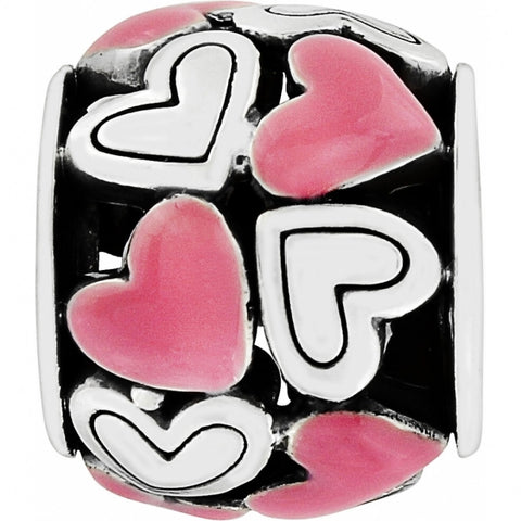Pink & Silver Plated Heart Bead