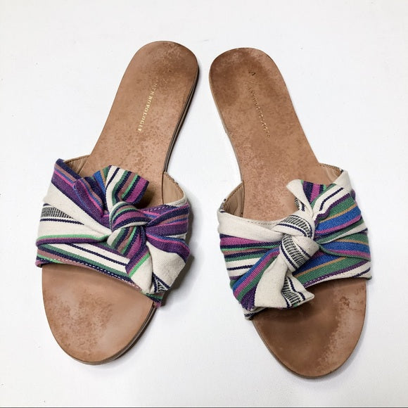 Anthropologie Striped and Knotted Slide Sandals 8