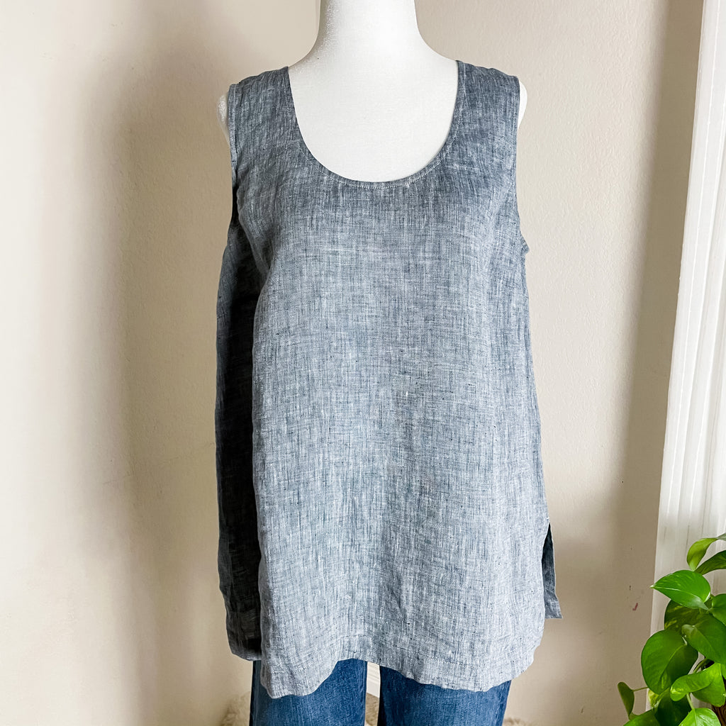 Go Silk 100% Linen Chambray Gray Blue Tank Top M