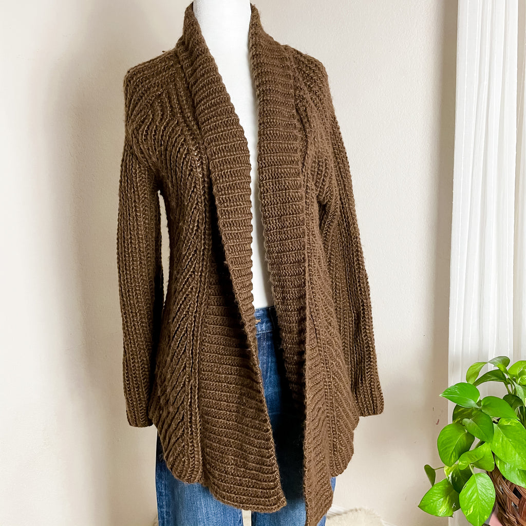 Joan Vass Chunky Camel Open Long Cardigan Wool XS