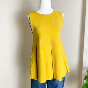 Ann Taylor Golden Yellow Pleated Sweater Tank S
