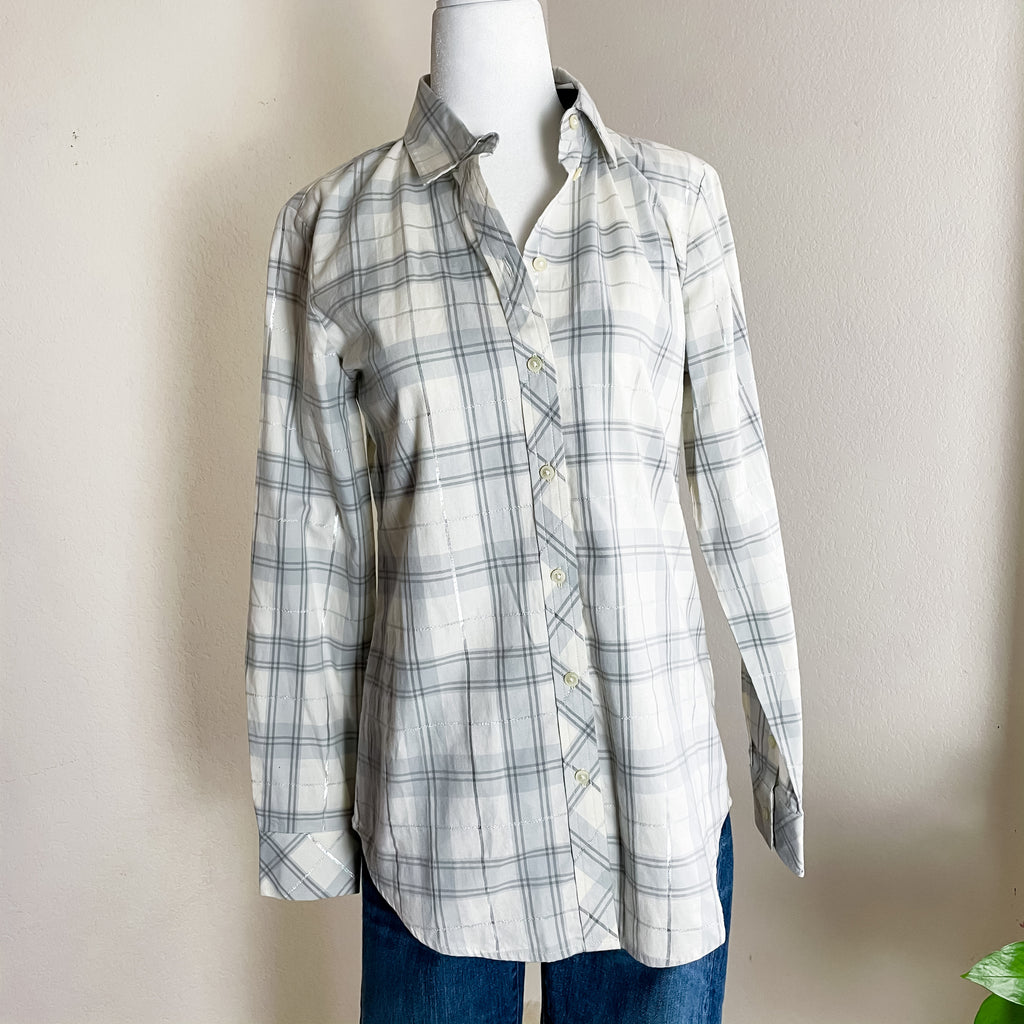 Banana Republic Dillon Shirt Cream Silver Plaid XS
