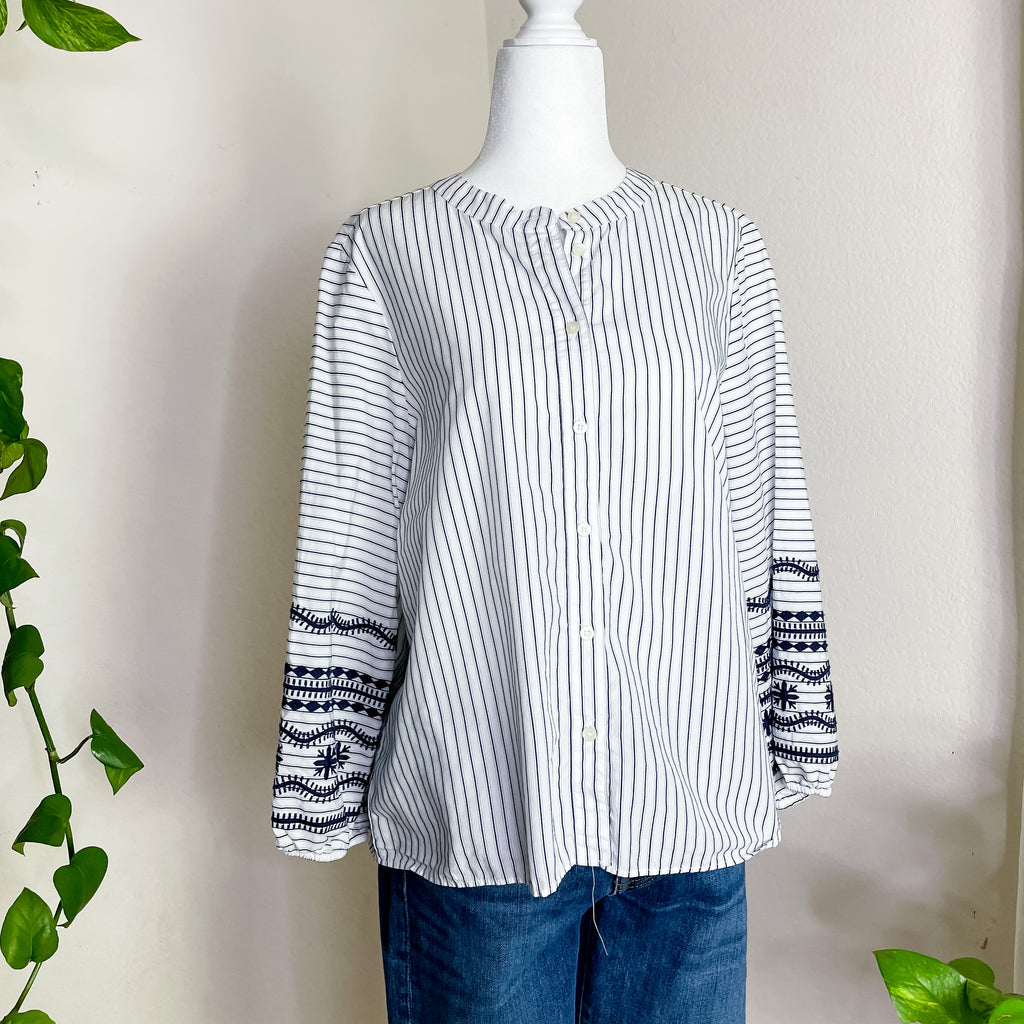 Madewell Embroidered Sleeve Striped Button Down Top M