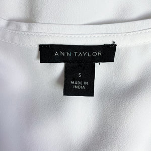 Ann Taylor Eyelet Embroidered White Tank S