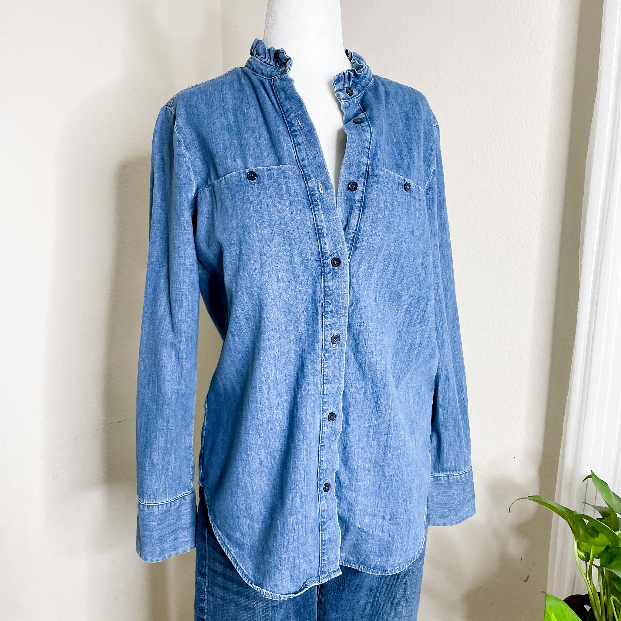 & Other Stories Ruffle Collar Chambray Top 4