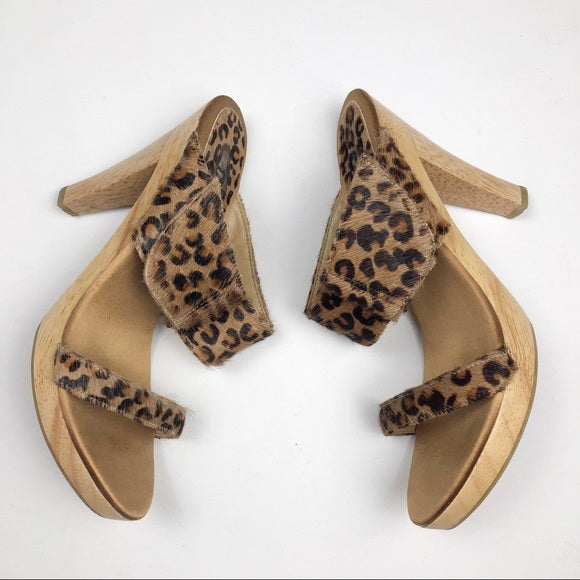 Bakers Satinilly Leopard Calf Skin Slide Heels 9