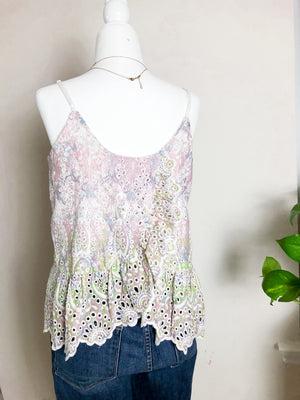 Anthropologie Featherbone Eyelet Embroidered Ruffle Tank