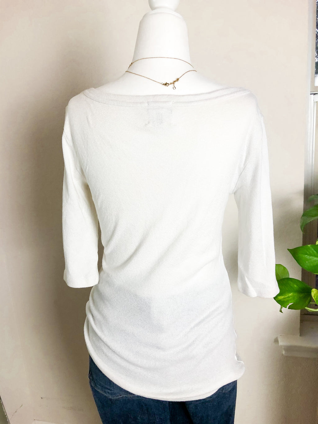 Anthropologie Michael Stars White Sparkle Short Sleeve Top