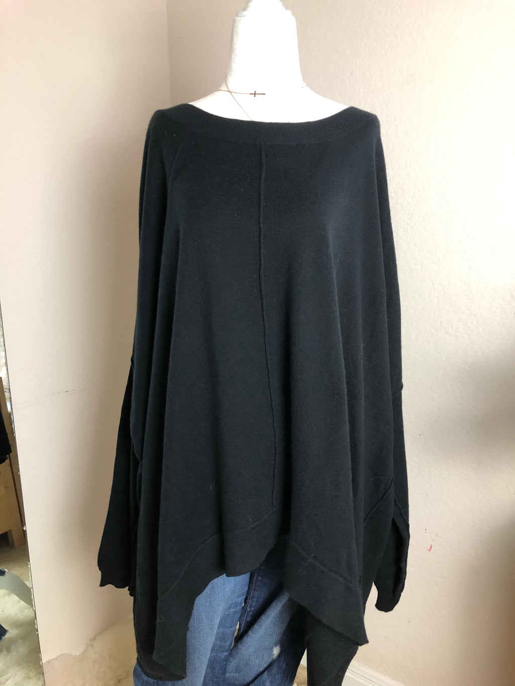 Myrine + Me Black Oversized Button Back Sweater