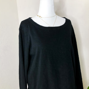 T.La Anthropologie Black Peplum Ruffle Hem Sweatshirt M